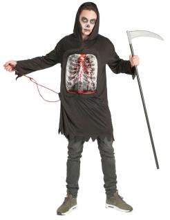 Grausamer Sensenmann Halloween-Kostüm für Erwachsene schwarz-weiß-rot