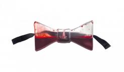 Blut befüllte Fliege Halloween-Accessoire transparent-rot-schwarz