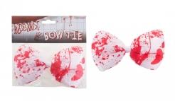 Blutig besudelte Fliege für Erwachsene Halloween-Accessoire weiß-rot