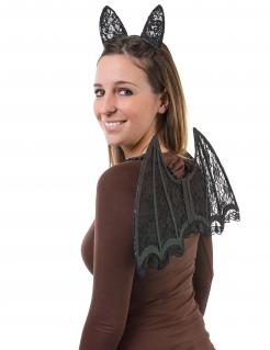 Fledermaus Kostümzubehör-Set für Erwachsene 3-teilig schwarz