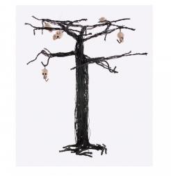 Verfluchter Horrorbaum mit Totenschädeln Halloween-Raumdeko braun-weiß 28 cm