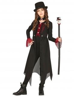 Schickes Gothic-Kostüm für Kinder Halloween schwarz-rot