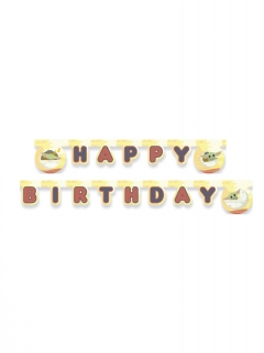 Baby Yoda-Partygirlande Happy Birthday The Mandalorian™ bunt 2 m