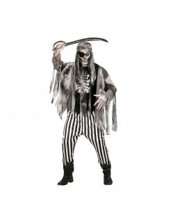 Plündernder Geisterpirat Herrenkostüm für Halloween schwarz-grau-weiß