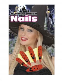 Künstliche Fingernägel für Erwachsene, Halloween-Fingernägel, Kürbis-Fingernägel, orange, 10 Stück