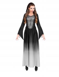 Gothic Vampirfürstin Halloween-Damenkostüm schwarz-weiß