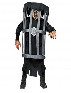Gefangener Zombie im Käfig Halloween-Kostüm für Erwachsene schwarz-grau