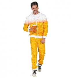 Cooler Bier-Trainingsanzug für Herren gelb-weiß