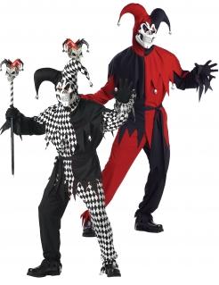 Horror-Harlekin Paarkostüm für Erwachsene Halloween schwarz-rot-weiß