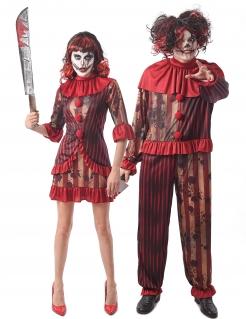 Blutiges Horrorclown-Pärchen Halloween-Paarkostüm rot-weiß