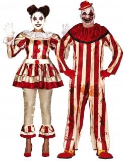 Verrückte Horrorclown Halloween-Paarkostüm für Erwachsene rot-weiß