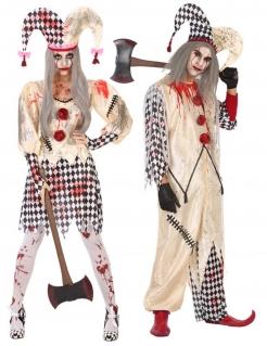 Mörderische Harlekin Halloween-Paarkostüm für Erwachsene schwarz-weiß-rot