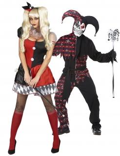 Aufregendes Psychoclown-Paarkostüm für Damen und Herren Halloween schwarz-rot-weiß