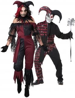 Böse Harlekins Halloween-Paarkostüm für Erwachsene schwarz-rot-weiß