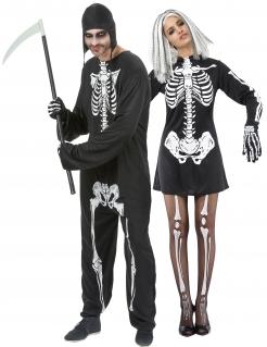Schauriges Skelett-Paarkostüm Halloweenkostüm schwarz-weiss