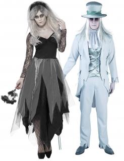 Schauriges Brautpaar Halloween-Paarkostüm schwarz-weiss-grau