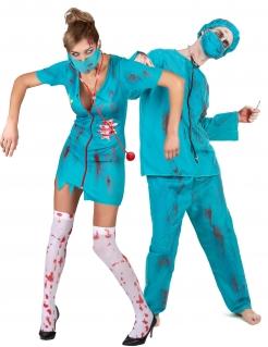 Blutiges Zombie-Paarkostüm Chirurgen-Halloweenkostüm blau-weiss-rot
