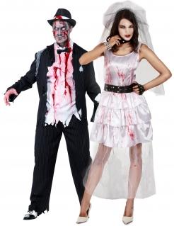 Paarkostüm Zombie-Brautpaar für Erwachsene schwarz-weiß-rot