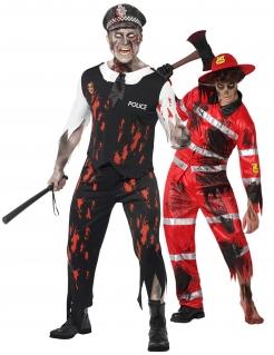 Fleißige Zombies Polizist Feuerwehrmann-Paarkostüm für Herren Halloween schwarz-rot-weiß