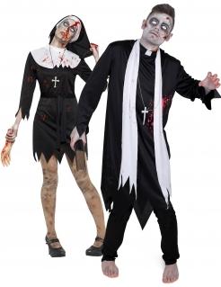 Religiöses Zombiepaar Erwachsenen-Paarkostüm für Halloween schwarz-weiß-rot
