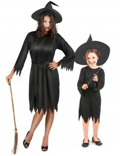 Dunkle Hexen Halloween-Paarkostüm für Mutter und Tochter schwarz