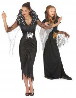 Spinnenhexen-Paarkostüm für Mutter und Tochter Halloween schwarz-silber-goldfarben