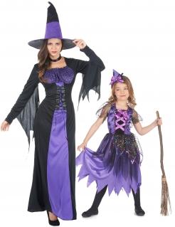 Süßes Hexen-Paarkostüm für Mutter und Kind Halloween schwarz-violett