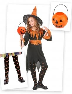 Hexenkostüm-Set für Mädchen 3-teilig schwarz-orange