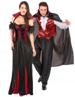 Adliges Vampirpaar Halloween-Paarkostüm für Erwachsene schwarz-rot-weiß