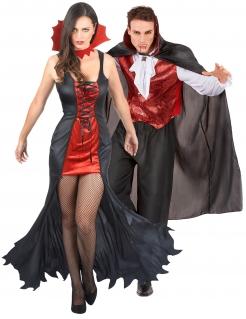 Vornehmes Vampir-Pärchen Halloween-Paarkostüm für Erwachsene schwarz-rot-weiß