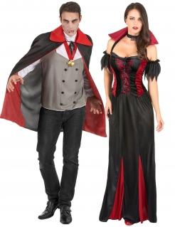 Elegantes Vampir-Pärchen Halloween-Paarkostüm für Erwachsene schwarz-rot-grau