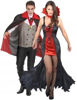 Todschickes Vampir-Pärchen Halloween-Paarkostüm für Erwachsene schwarz-rot-grau