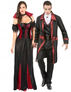 Barockes Vampir-Adelspaar Halloween-Paarkostüm für Erwachsene schwarz-rot-weiß