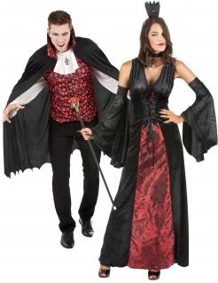 Unheimlich schickes Vampir-Pärchen Halloween-Paarkostüm für Erwachsene schwarz-rot-weiß