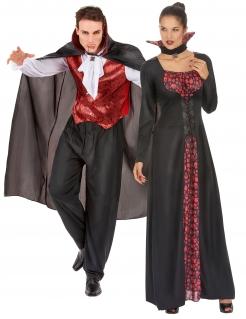 Blutdürstiges Vampirpärchen Halloween-Paarkostüm schwarz-rot-weiß