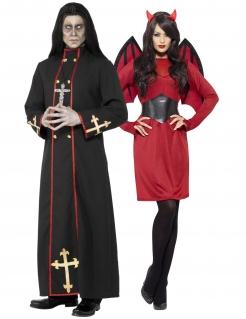 Unheiliges Höllen-Pärchen Halloween-Paarkostüm schwarz-rot