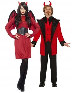 Diabolisches Pärchen Halloween-Paarkostüm schwarz-rot