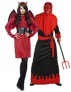 Höllisches Teufels-Pärchen Halloween-Paarkostüm für Erwachsene rot-schwarz