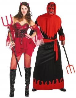 Sexy Teufelspärchen der Unterwelt Halloween-Paarkostüm für Erwachsene rot-schwarz