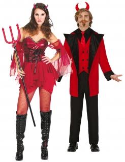 Dämonisches Teufelspaar Halloween-Partnerkostüm für Erwachsene rot-schwarz