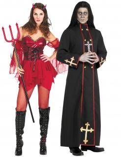 Teuflische Höllenpärchen Halloween-Paarkostüm für Erwachsene rot-schwarz-goldfarben