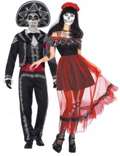 Mexikanisches Tag der Toten-Pärchen Halloween-Paarkostüm für Erwachsene bunt