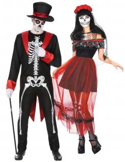 Festliches Dia de los Muertos-Pärchen Halloween-Paarkostüm für Erwachsene bunt