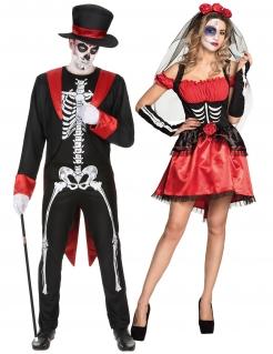 Todschickes Tag der Toten-Pärchen Halloween-Paarkostüm für Erwachsene schwarz-rot-weiß