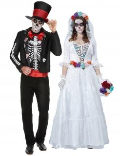 Untotes Tag der Toten-Hochzeitspaar Halloween-Partnerkostüm für Erwachsene bunt