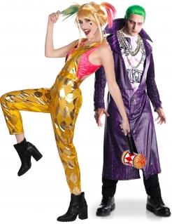 Verrücktes Birds of Prey™-Pärchen Joker und Harley Halloween-Paarkostüm bunt