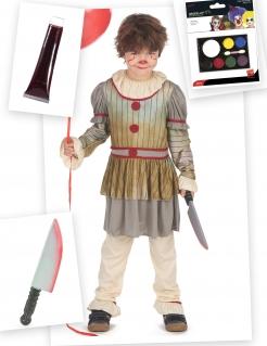 Horrorclown-Kostümset für Kinder Halloween-Kinderkostüm 4-teilig beige-rot