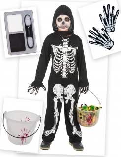 Skelett-Kostümset Halloween-Kinderkostüm 4-teilig schwarz-weiss