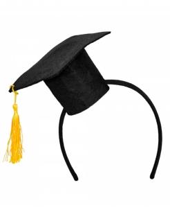 Mini-Doktorhut für Erwachsene Kostümaccessoire schwarz-gelb