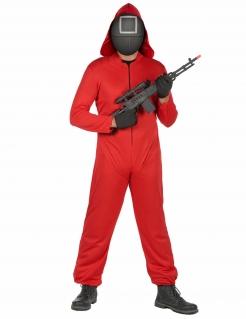 Horror-Show Wächter Quadrat Streaming-Serie Kostüm für Erwachsene schwarz-rot-weiß